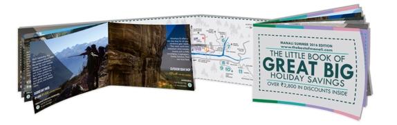 Livret format A5 (coupons + carte) pour l'association de tourisme de Manali (Inde)