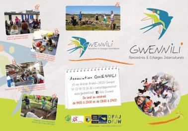 Plaquette pour l'association Gwennili Quimper - Format type 'portefeuille' 10x21cm