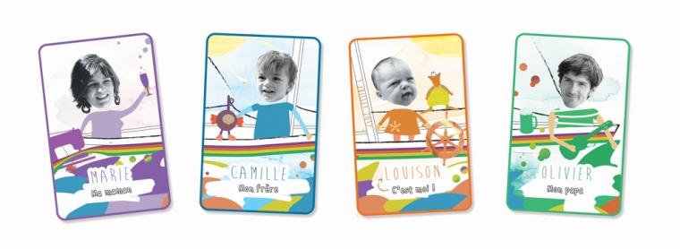 Faire-part de naissance original personnalisé - Type cartes 'Jeu de 7 familles' - Sur commande