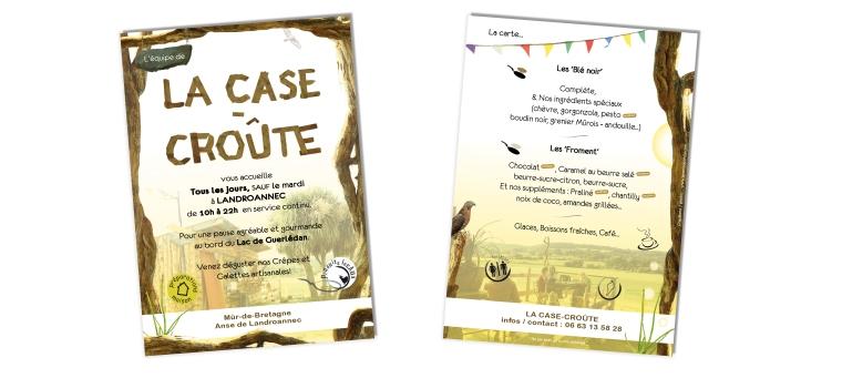 Flyer / menu format A5 - pour la crêperie La Case-Croûte (22)